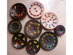 彩線木扣,穿線木紐扣,手工扣,竹子扣