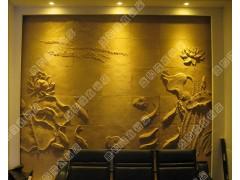 盛和隆砂岩荷花浮雕壁画家装装饰材料酒店吧台背景材料-荷花图