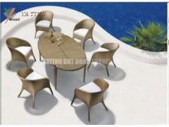 雅亭定制一桌六椅咖啡黄色仿藤桌椅
