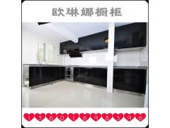 欧琳娜时尚简约不锈钢橱柜 黑色烤漆金属橱柜 整体台面