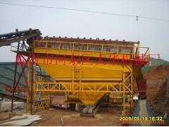 滾筒式黃沙篩選機與輸送機組成生產流水線