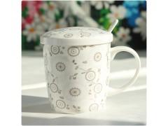 带盖陶瓷杯 卡通袋盖杯 广告杯定制厂家
