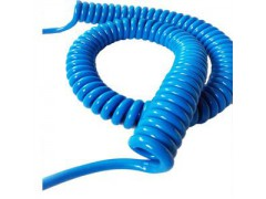 防静电警报器用5米弹簧线,蓝色螺旋电缆,人体除静电PU电缆