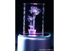 3D发财树玻璃水晶内雕 激光?#21442;?#29627;璃水晶摆件加工定制