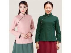 厂家原创品牌改良汉服唐装旗袍中式棉麻服装二喜茶服