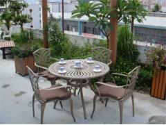 湖南郴州名牌户外家具庭院铸铝桌椅五件套工厂订做报价【千盟】