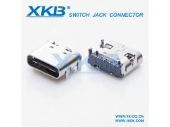 usb连接器 type-c 3.1母座贴片24P前插后贴板