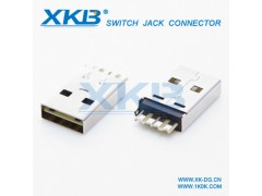 usb连接器 usb充电插头usb2.0公头 短体A公焊线式