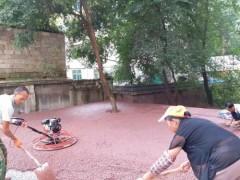 貴陽市白云區居民小區路面改造工程彩色透水混凝土施工