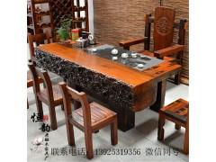 老船木家具茶桌椅組合 功夫茶幾古典藝術厚板茶臺 實木茶幾