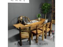 老船木家具茶桌椅組合 功夫茶幾古典藝術厚板茶臺