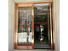 鏡面304鈦金大門 鋼化玻璃不銹鋼包邊門 雙開地彈門直銷