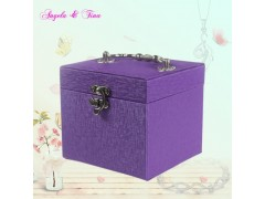 鳄鱼纹pu饰品盒 欧式风格锁 三层双抽屉 珠宝首饰盒厂家定制
